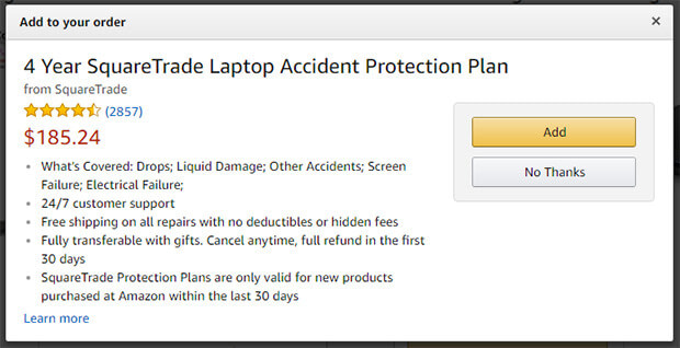 Amazon Upsell Example