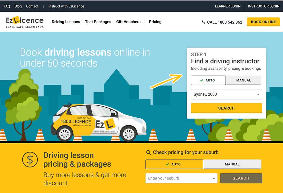 Printscreen Of EzLicence Homepage