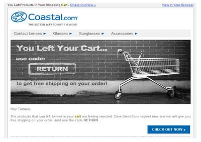 Coastal eyewear abandoned shopping cart email