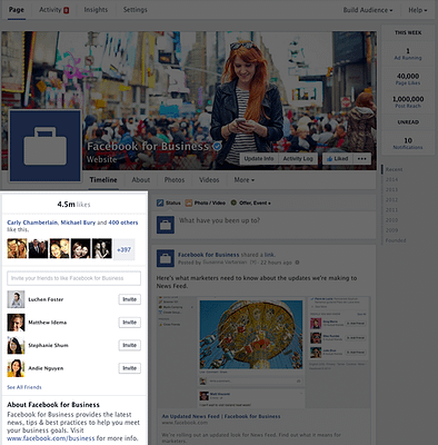 Facebook Page info now in left hand column