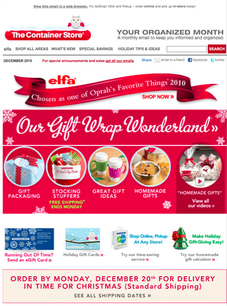 The container store holiday email