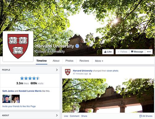 Harvard University Facebook Page