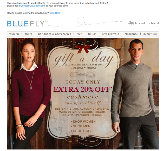 BlueFly holiday email