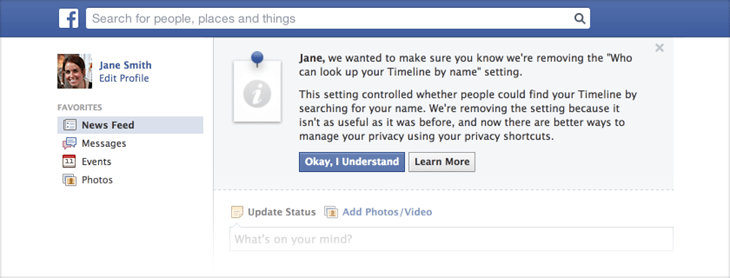 Facebook makes all users searchable